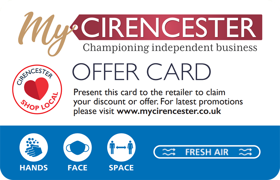 My Cirencester offer card (front)